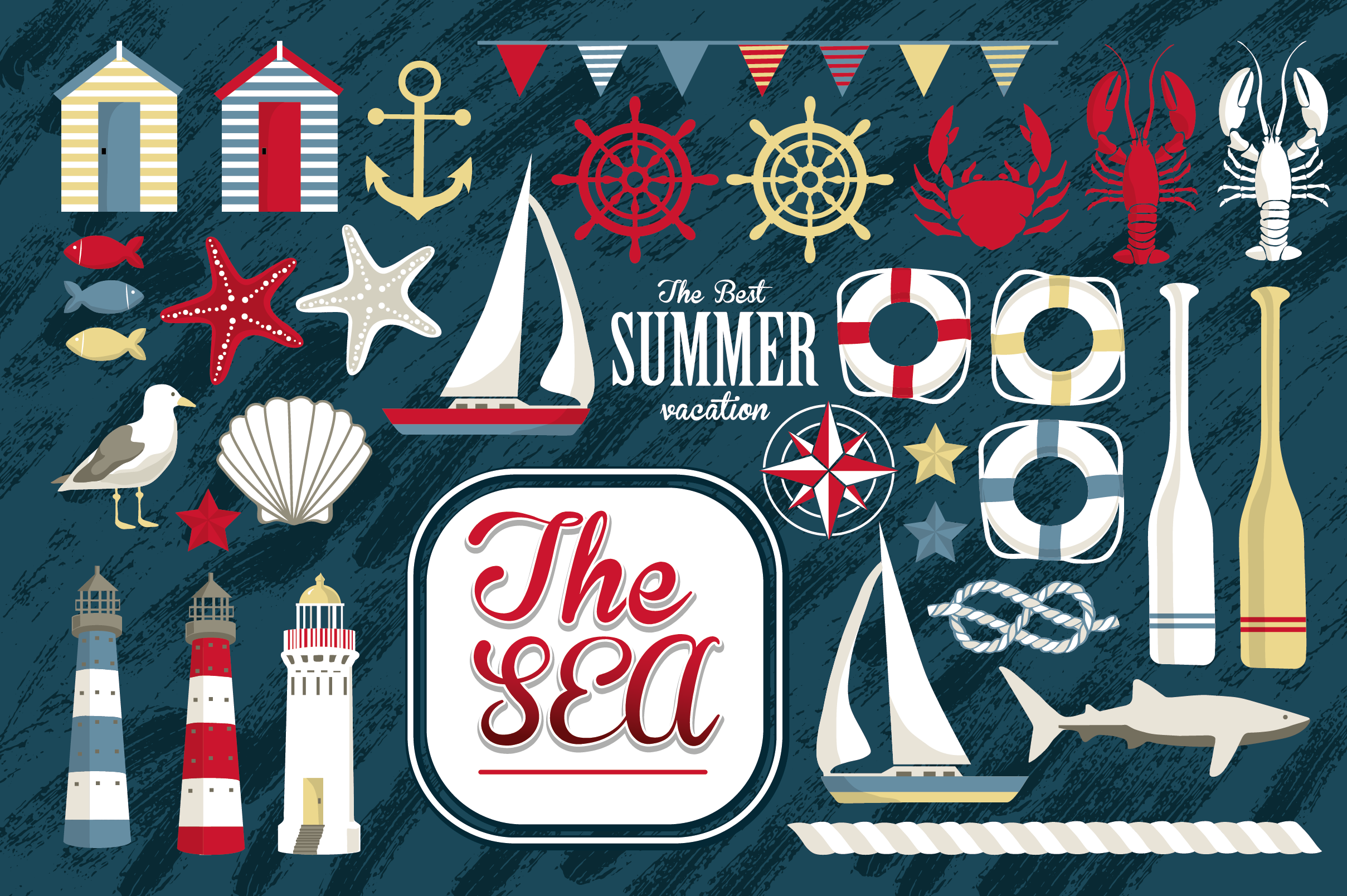 Beach Holidays Vector Set Graphic Illustrations By sto-va