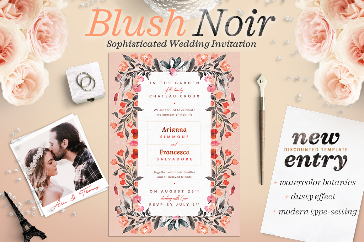 Blush Noir Wedding Invite IV Graphic Print Templates By lavie1blonde