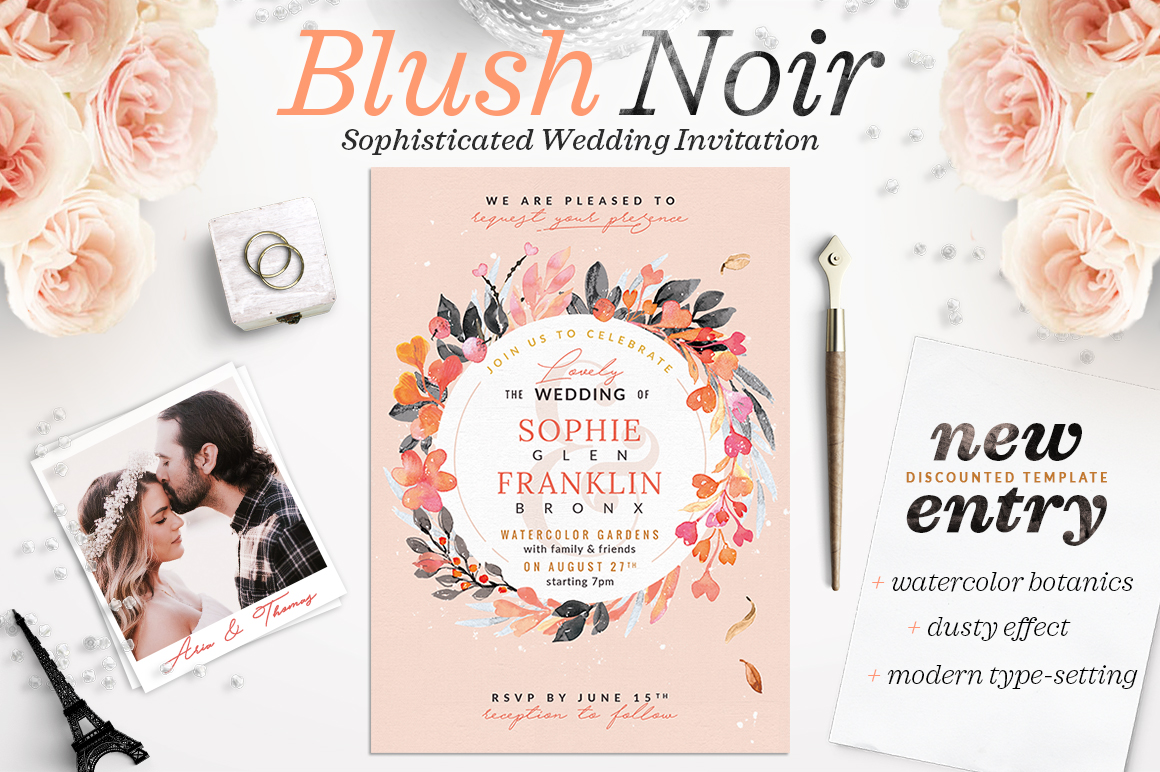 Print on Demand: Blush Noir Wedding Invite V Graphic Print Templates By lavie1blonde