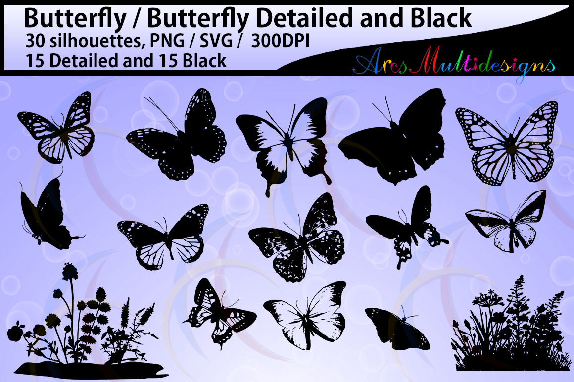 Download Free Butterfly Silhouette Graphic By Arcs Multidesigns Creative Fabrica for Cricut Explore, Silhouette and other cutting machines.