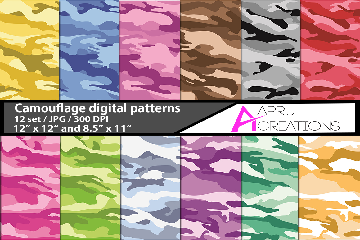 Print on Demand: Camouflage Digital Papers Graphic Patterns By aparnastjp