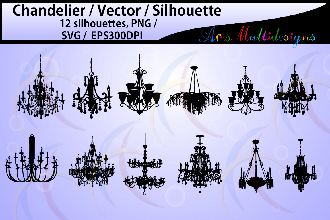 Print on Demand: Chandelier Silhouette Graphic Illustrations By Arcs Multidesigns