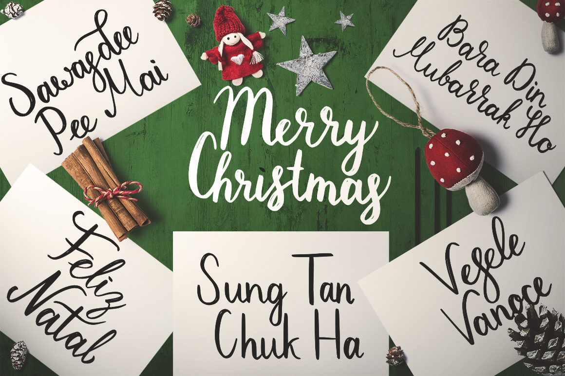 Download Free Christmas For All Hand Drawn Lettering Set Graphic By for Cricut Explore, Silhouette and other cutting machines.