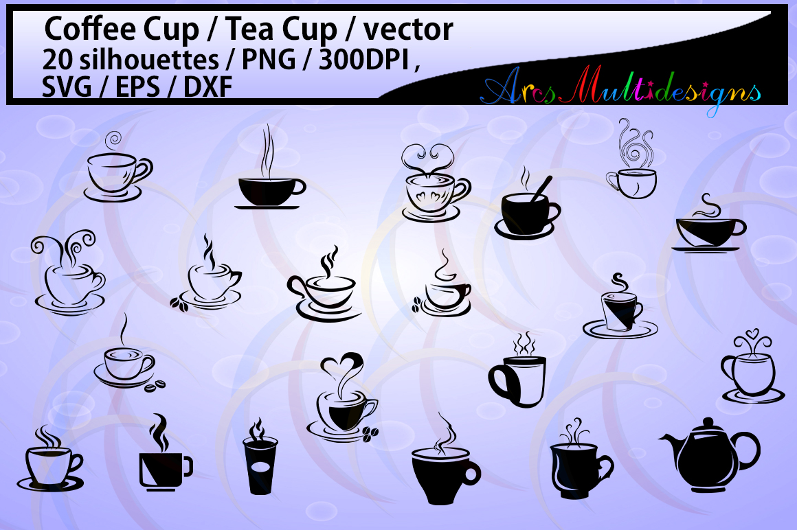 Download Free 2 Coffee Cup Svg Designs Graphics for Cricut Explore, Silhouette and other cutting machines.