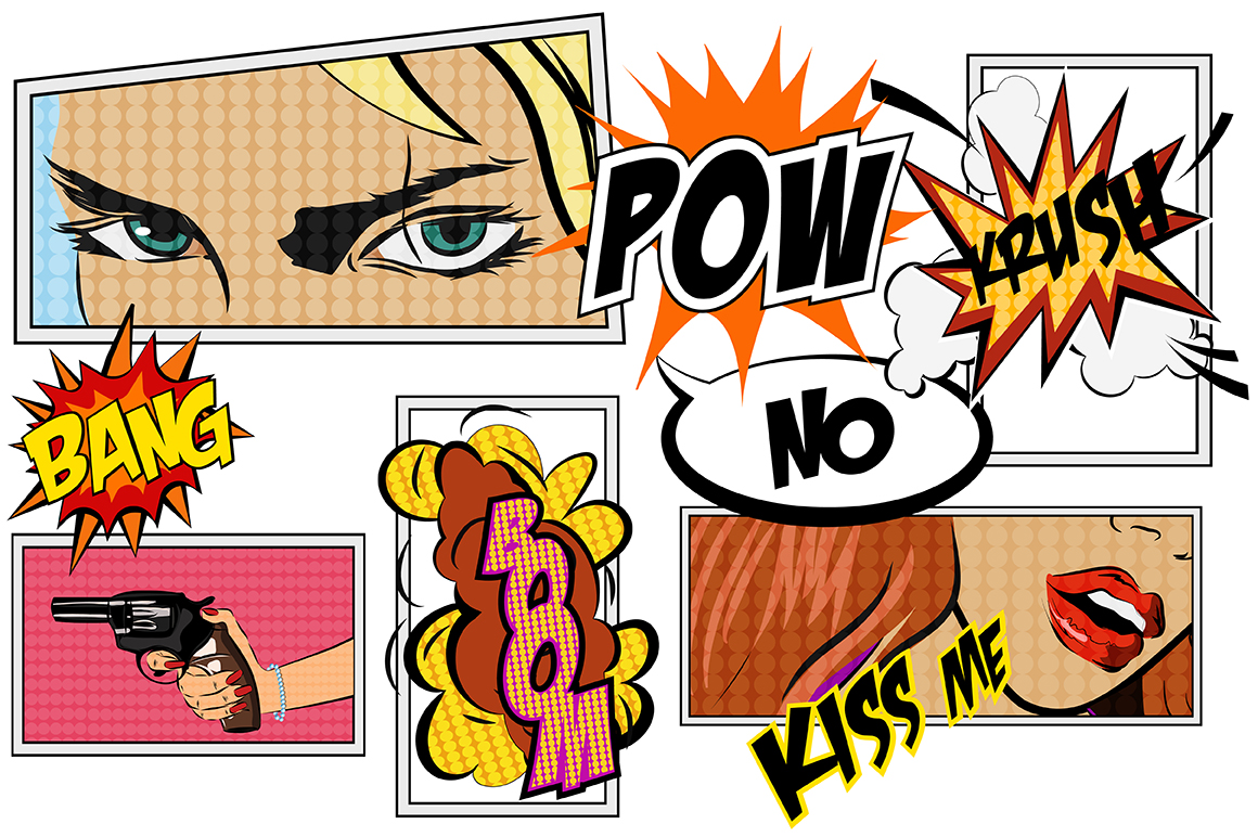 Comics Pop Art Signs Set Vol 2 Graphic Illustrations By alisared87