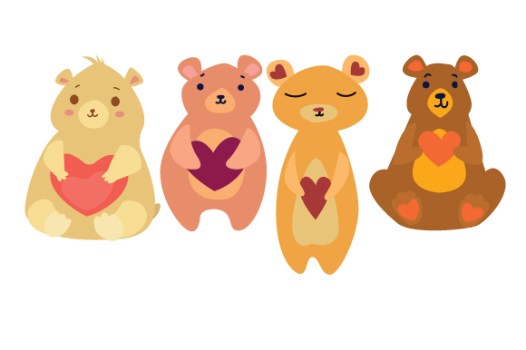 Cute Bears Holding Hearts Love Craft Cut File By Creative Fabrica Crafts - Image 1