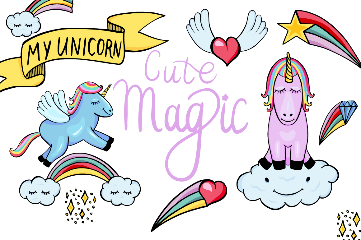 Cute Unicorns and Pegasus Magic Set Graphic By InkandBrush