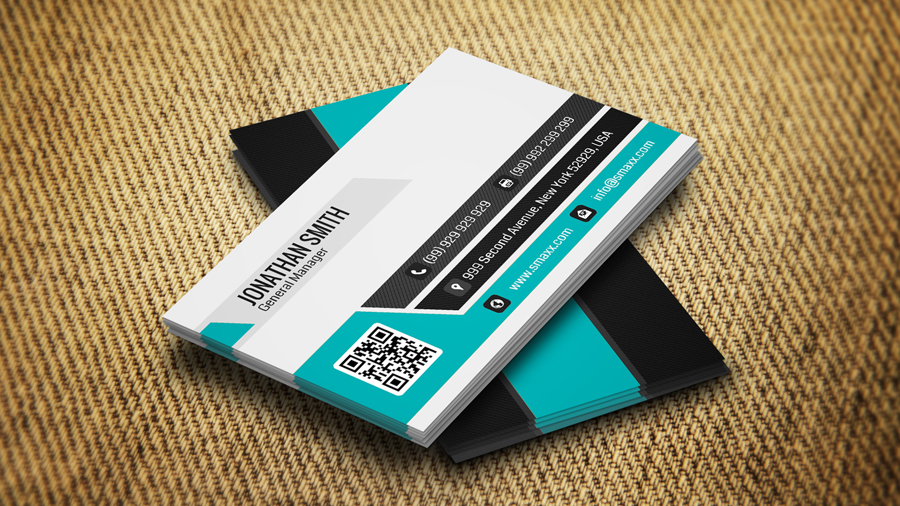 Print on Demand: Cyan & Black Business Card Graphic Print Templates By screen letter