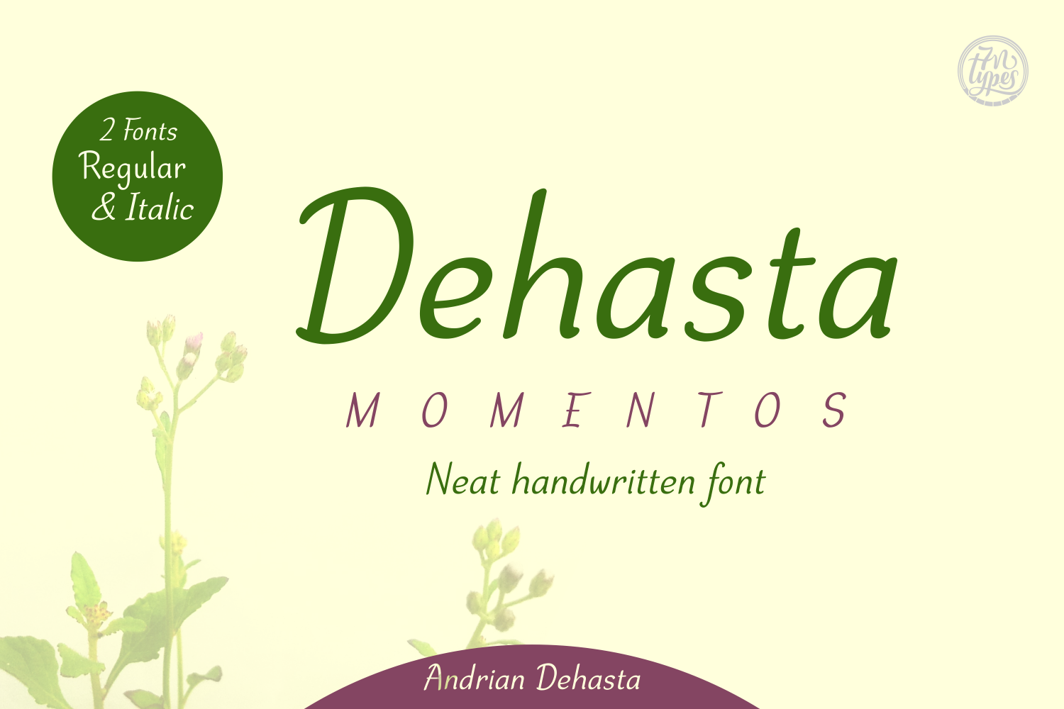 Print on Demand: Dehasta Momentos Script & Handwritten Font By Andrian Dehasta