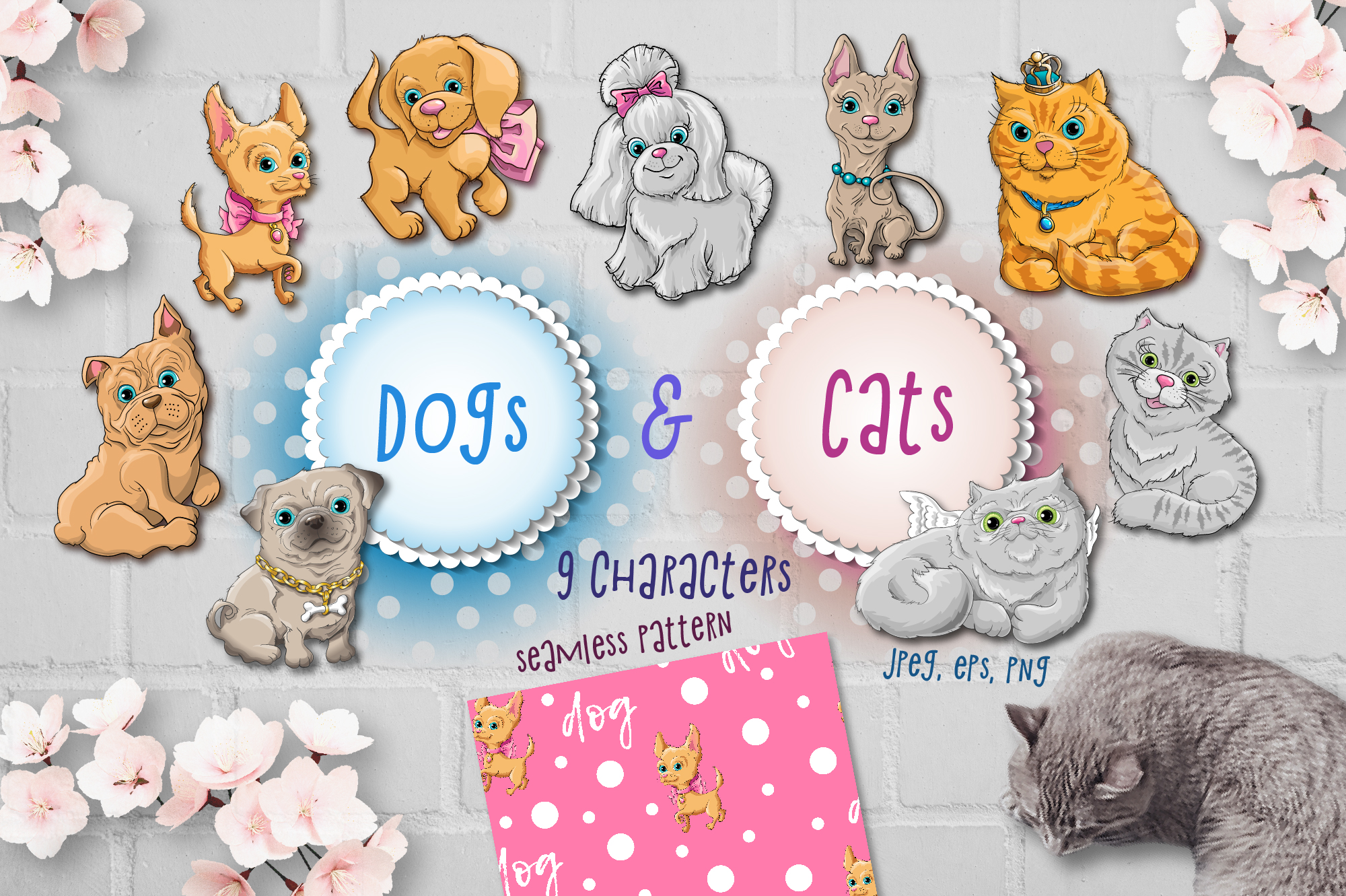 Print on Demand: Dog & Cats Set Graphic Illustrations By nicjulia