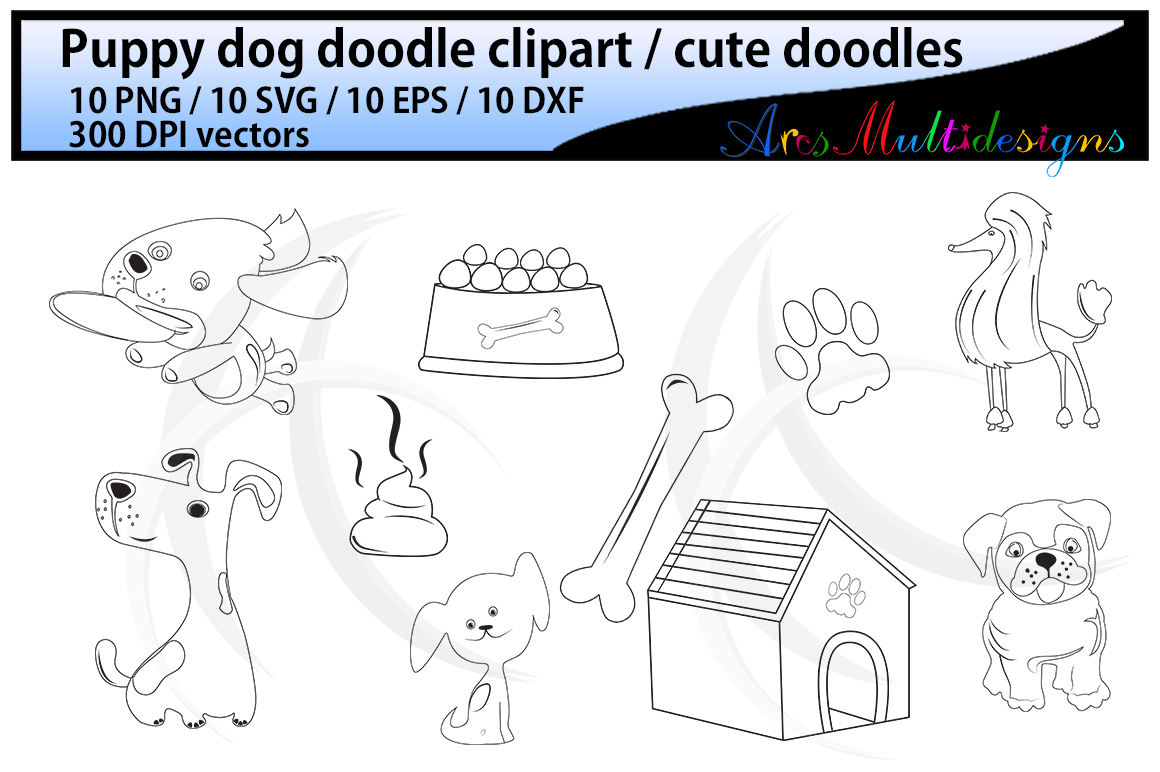 Print on Demand: Dog Doodle Clipart Graphic Crafts By Arcs Multidesigns