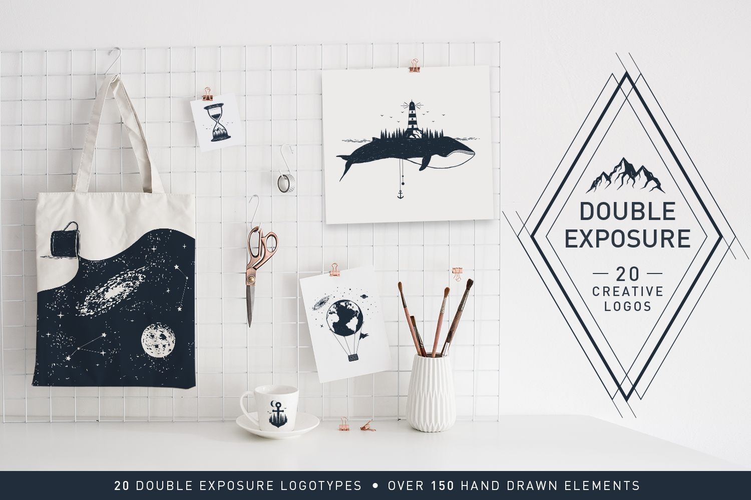 Print on Demand: Double Exposure - 20 Creative Logos Graphic Illustrations By Cosmic Store