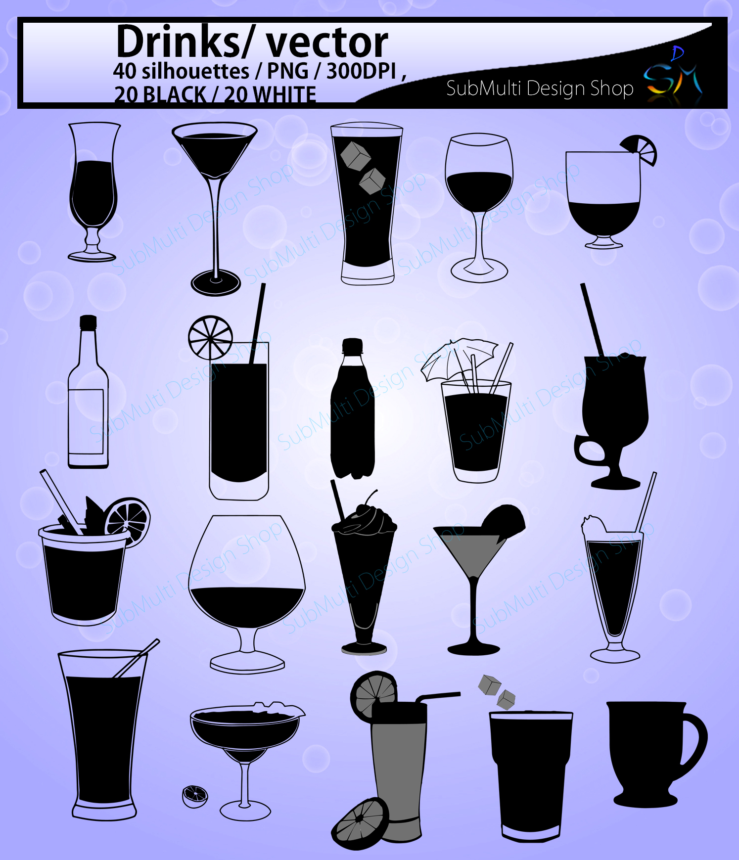 Download Free Drinks Silhouette Graphic By Arcs Multidesigns Creative Fabrica for Cricut Explore, Silhouette and other cutting machines.