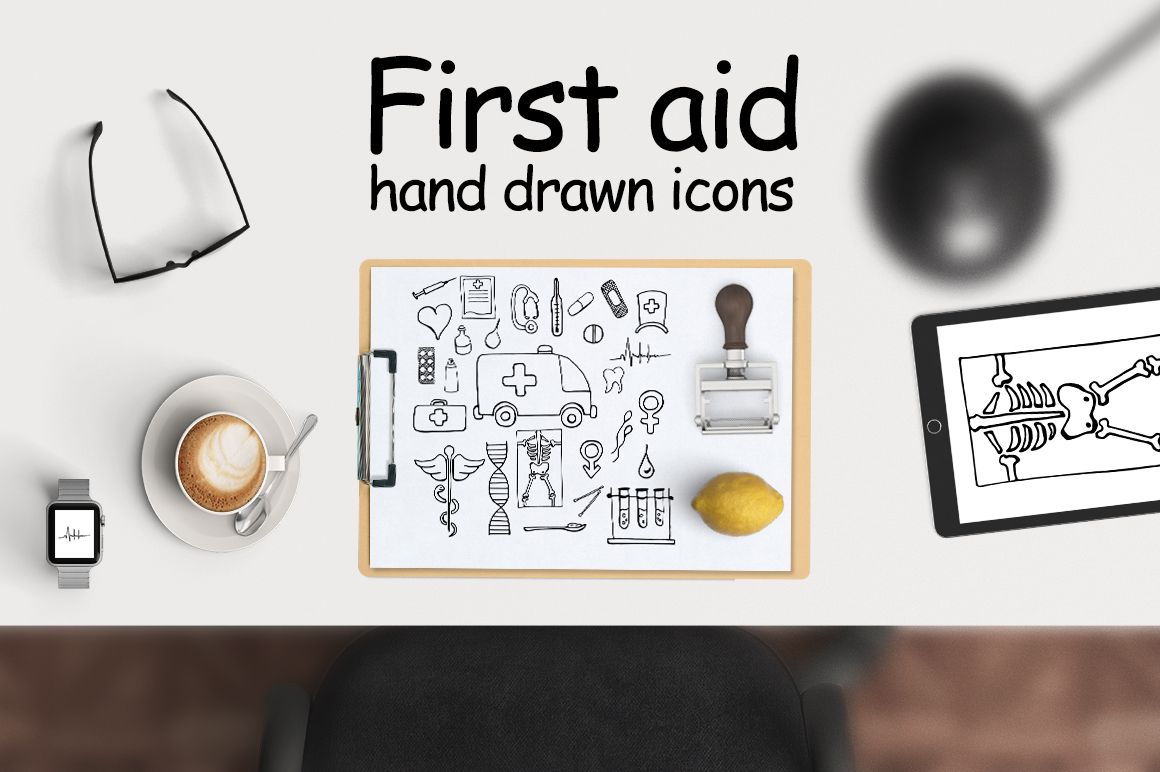 Print on Demand: FIRST AID | Medical Icons Grafik Icons von Gennadii ART
