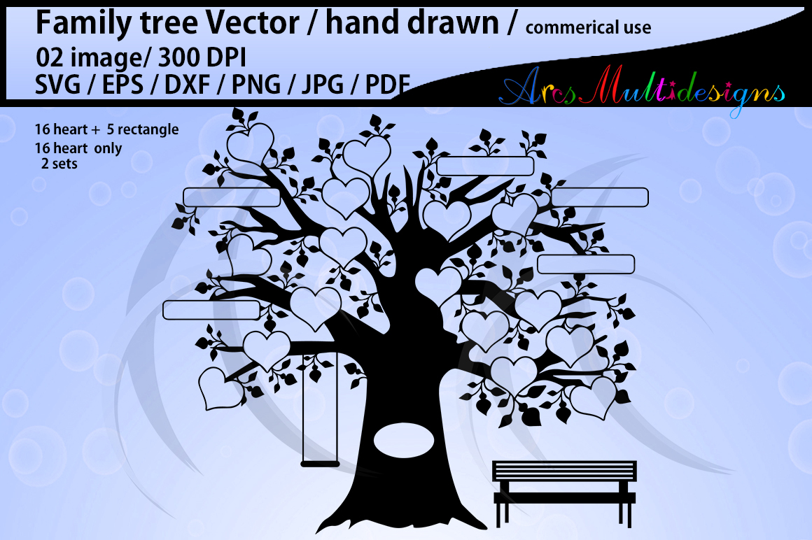 Download Free Family Tree Clipart 16 Heart Set Graphic By Arcs Multidesigns for Cricut Explore, Silhouette and other cutting machines.