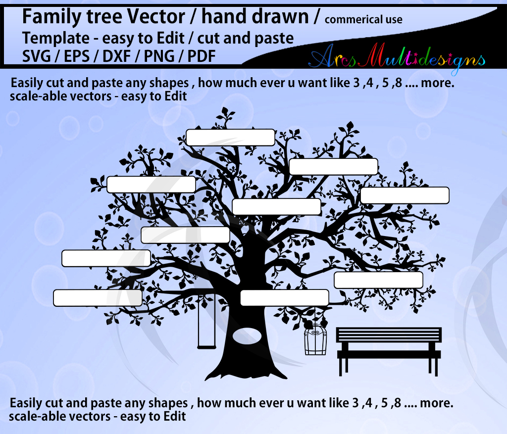 Download Free Family Tree Clipart Svg Template Graphic By Arcs Multidesigns for Cricut Explore, Silhouette and other cutting machines.