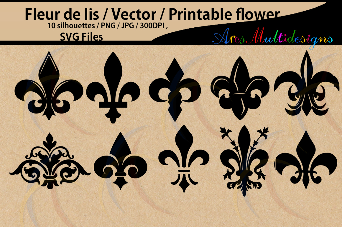 Download Free Fleur De Lis Silhouette Graphic By Arcs Multidesigns Creative for Cricut Explore, Silhouette and other cutting machines.
