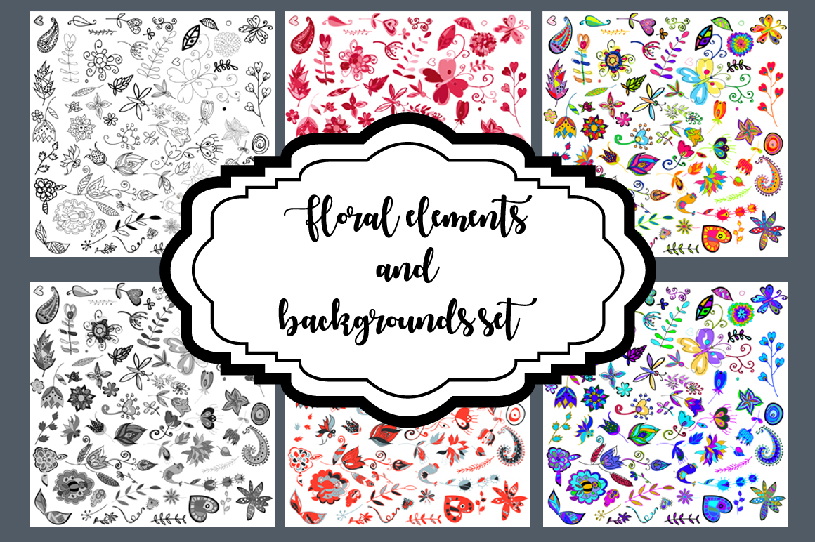 Floral Elements and Backgrounds Set Graphic Patterns By alisared87