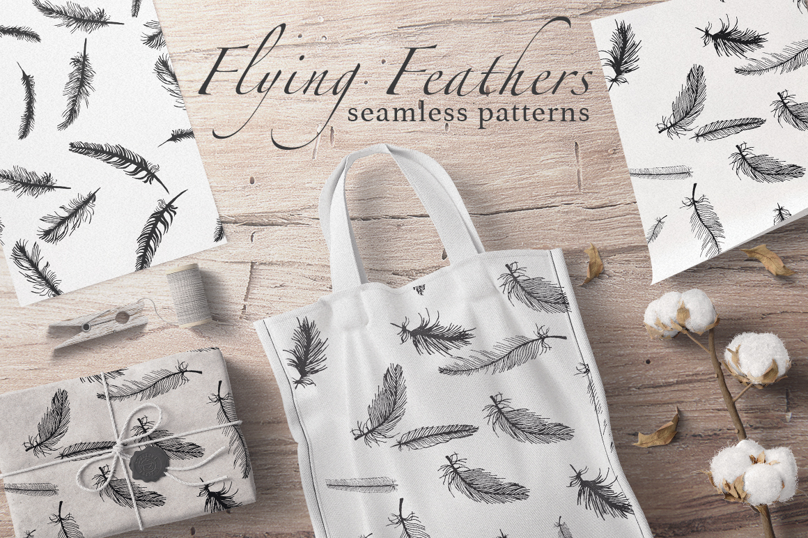 Flying Feathers Seamless Patterns Graphic By InkandBrush