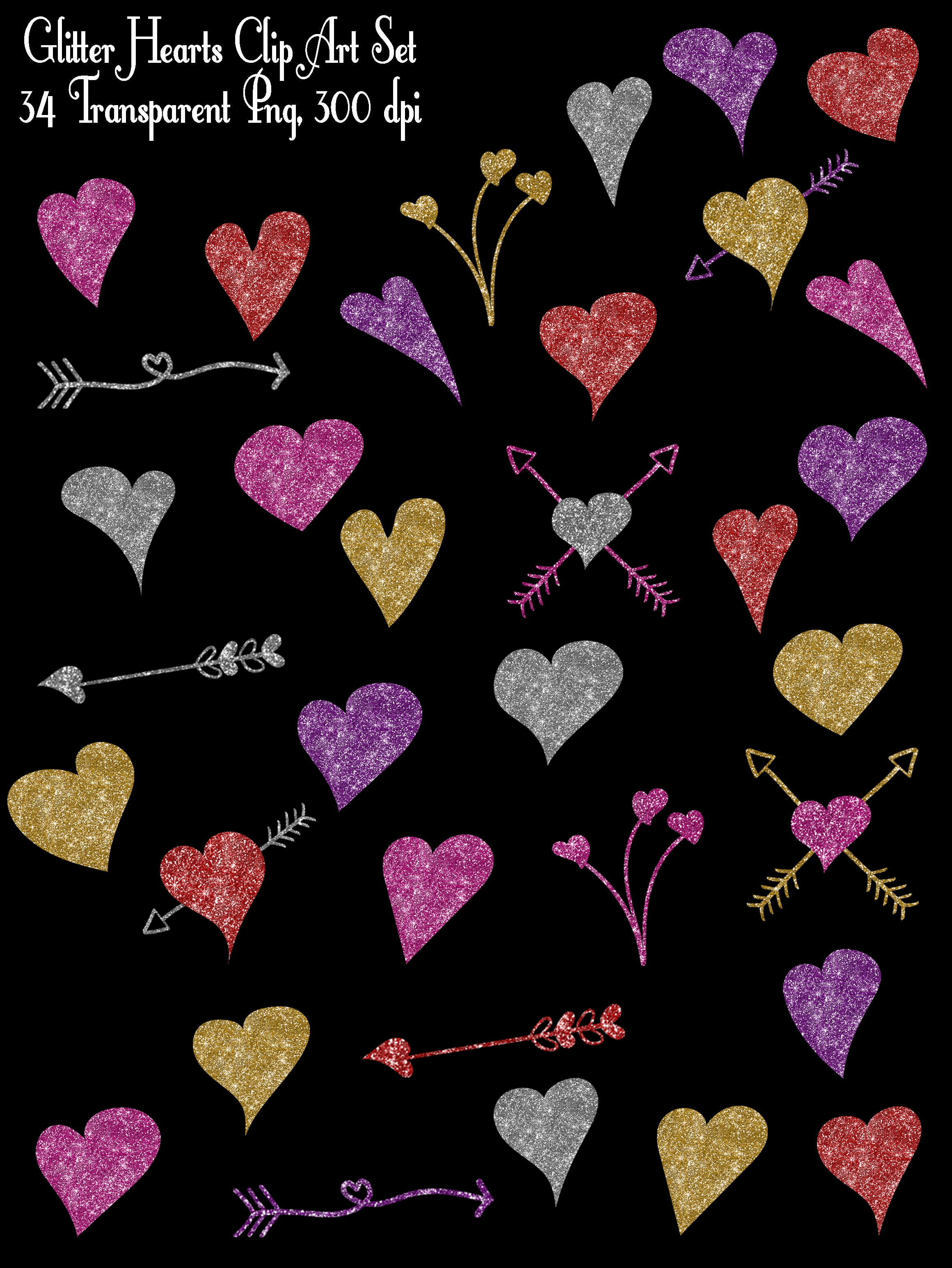 Glitter Valentine Hearts Clip Art - PNG Graphic Illustrations By oldmarketdesigns - Image 2