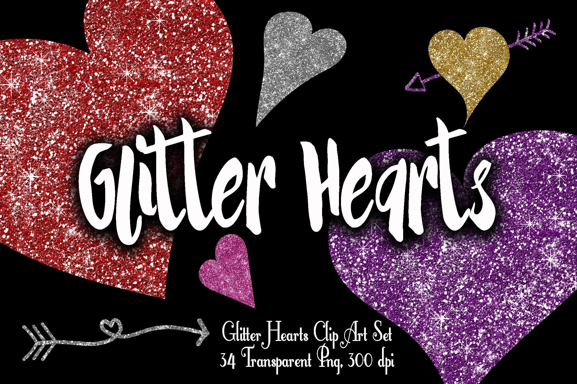 Glitter Valentine Hearts Clip Art - PNG Graphic Illustrations By oldmarketdesigns - Image 1