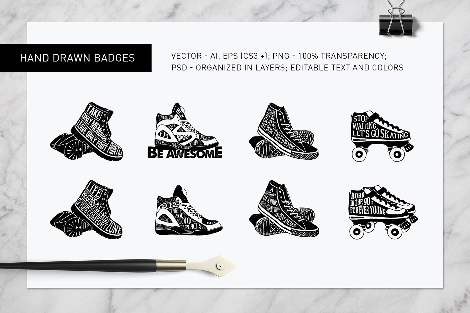 Print on Demand: Good Shoes - 8 Inspirational Badges Graphic Logos By Cosmic Store - Image 5