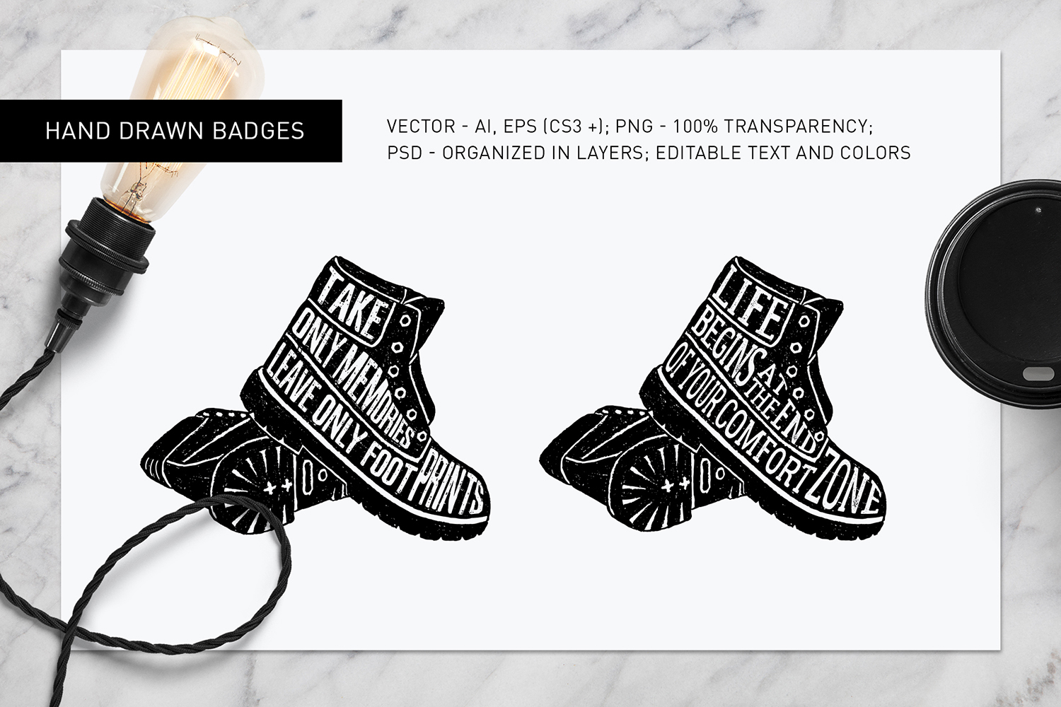 Print on Demand: Good Shoes - 8 Inspirational Badges Graphic Logos By Cosmic Store - Image 6