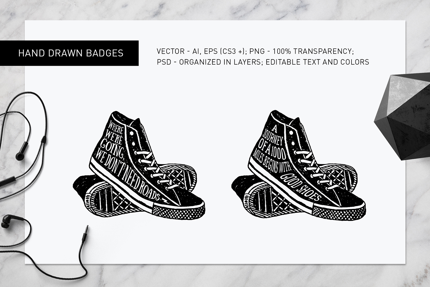 Print on Demand: Good Shoes - 8 Inspirational Badges Graphic Logos By Cosmic Store - Image 7