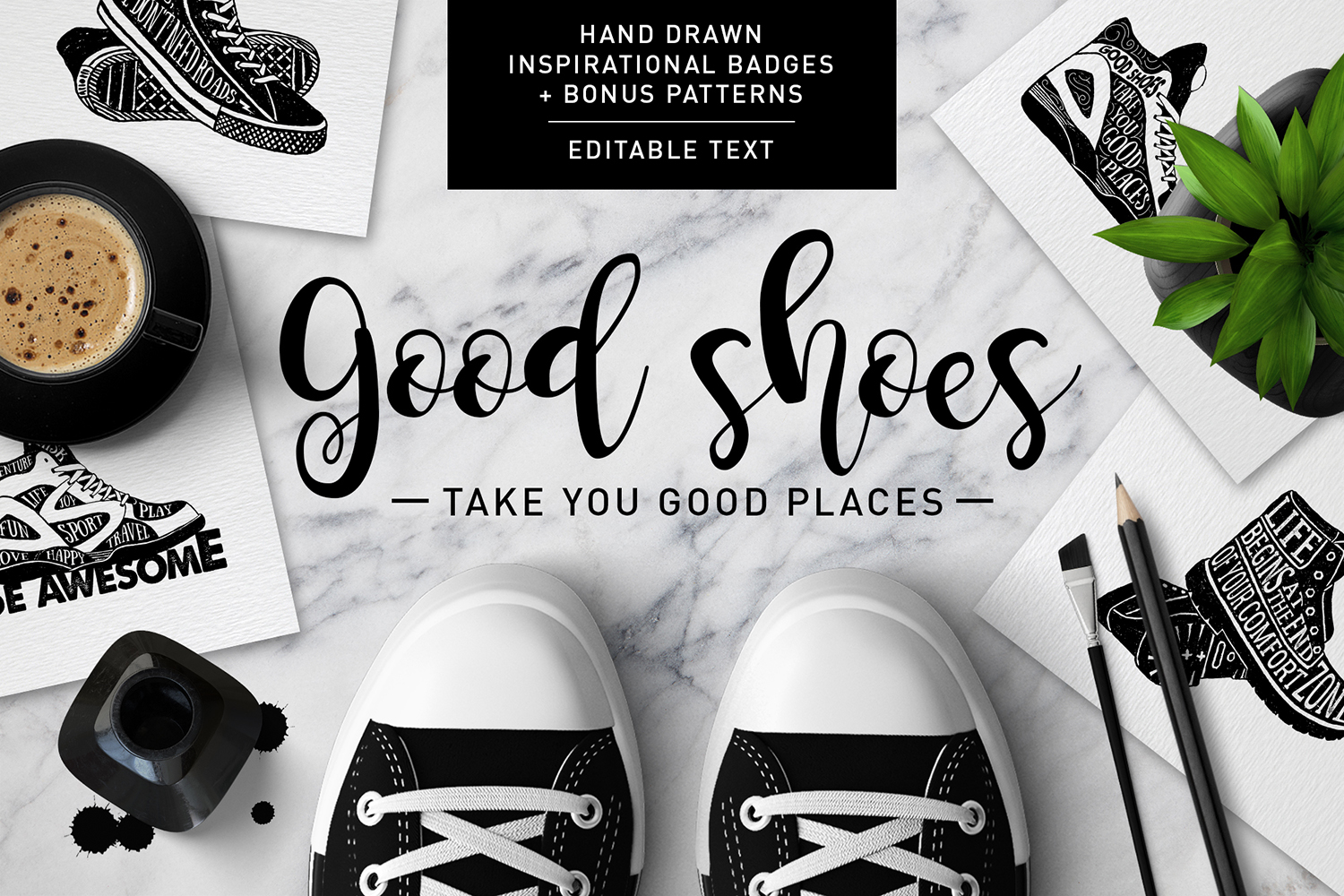 Good Shoes - 8 Inspirational Badges Graphic By Cosmic Store