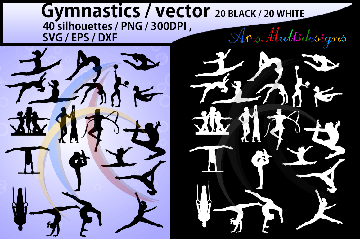 Print on Demand: Gymnastics Silhouette SVG Gráfico Crafts Por Arcs Multidesigns