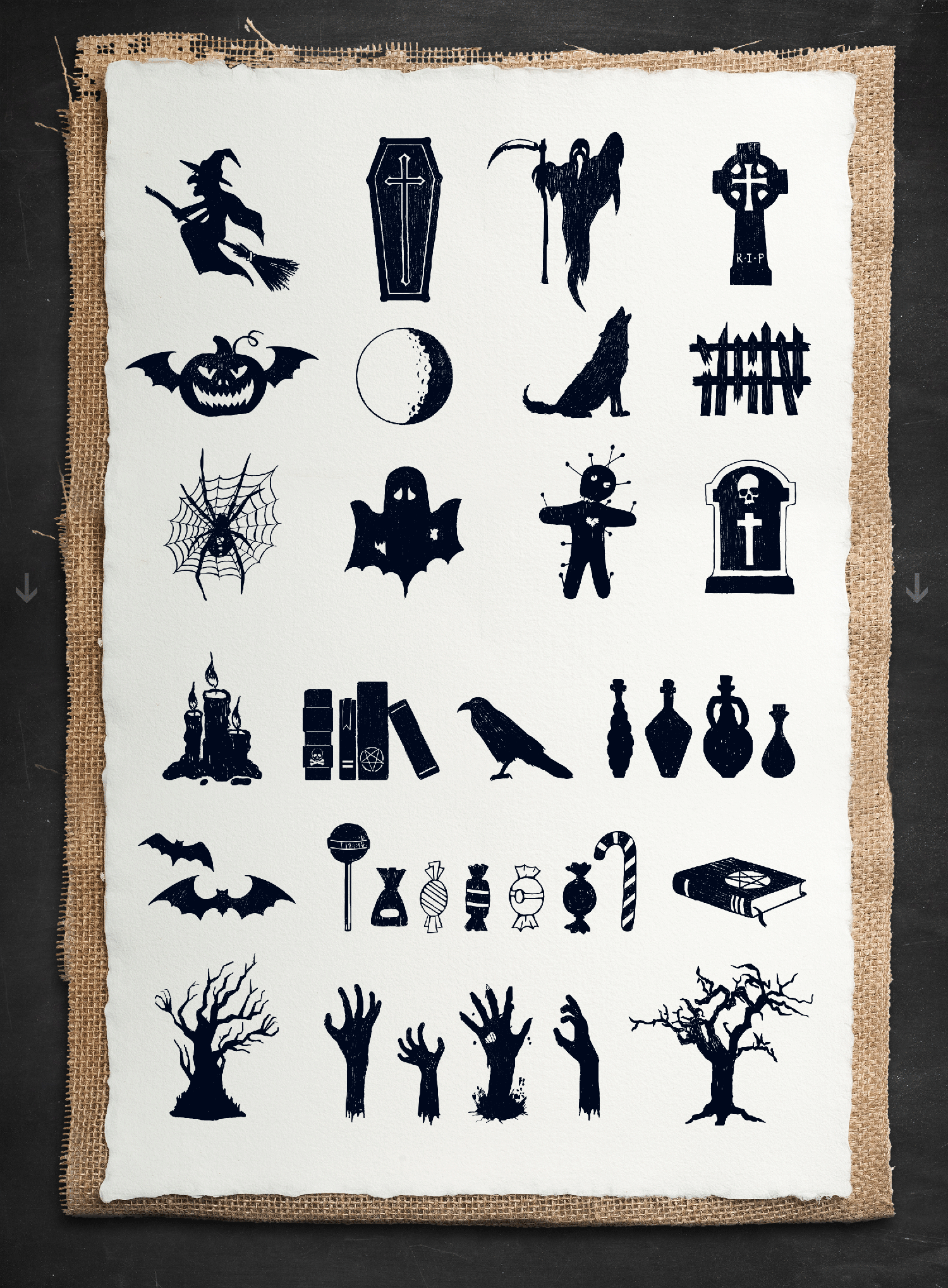 Print on Demand: Halloween - 50 Hand Drawn Objects Graphic Illustrations By Cosmic Store - Image 4