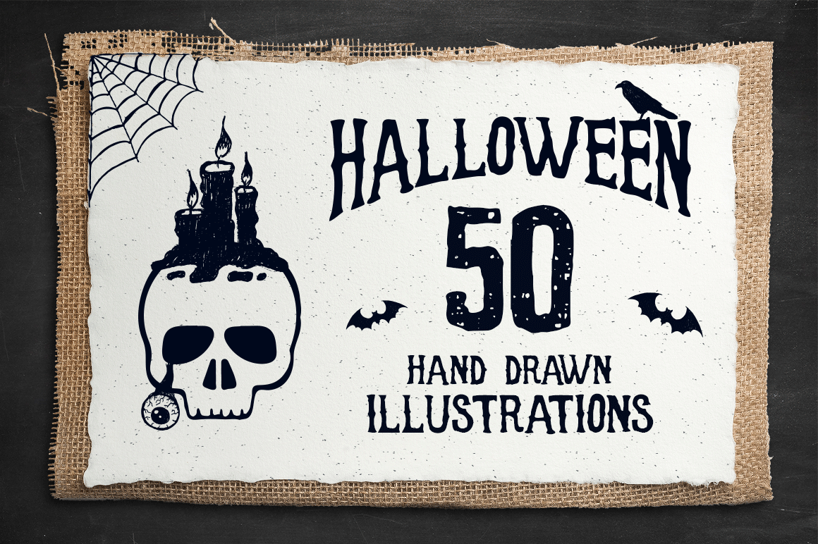 Print on Demand: Halloween - 50 Hand Drawn Objects Graphic Illustrations By Cosmic Store - Image 1