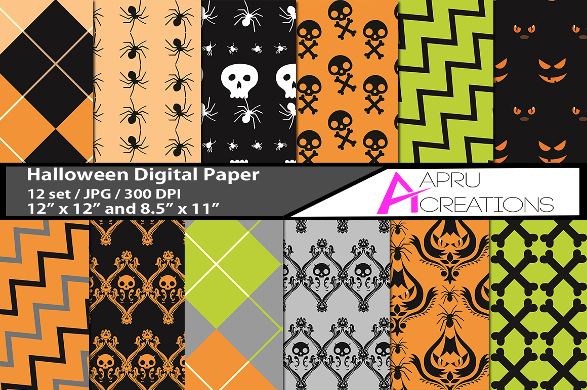 Print on Demand: Halloween Digital Papers Graphic Backgrounds By aparnastjp