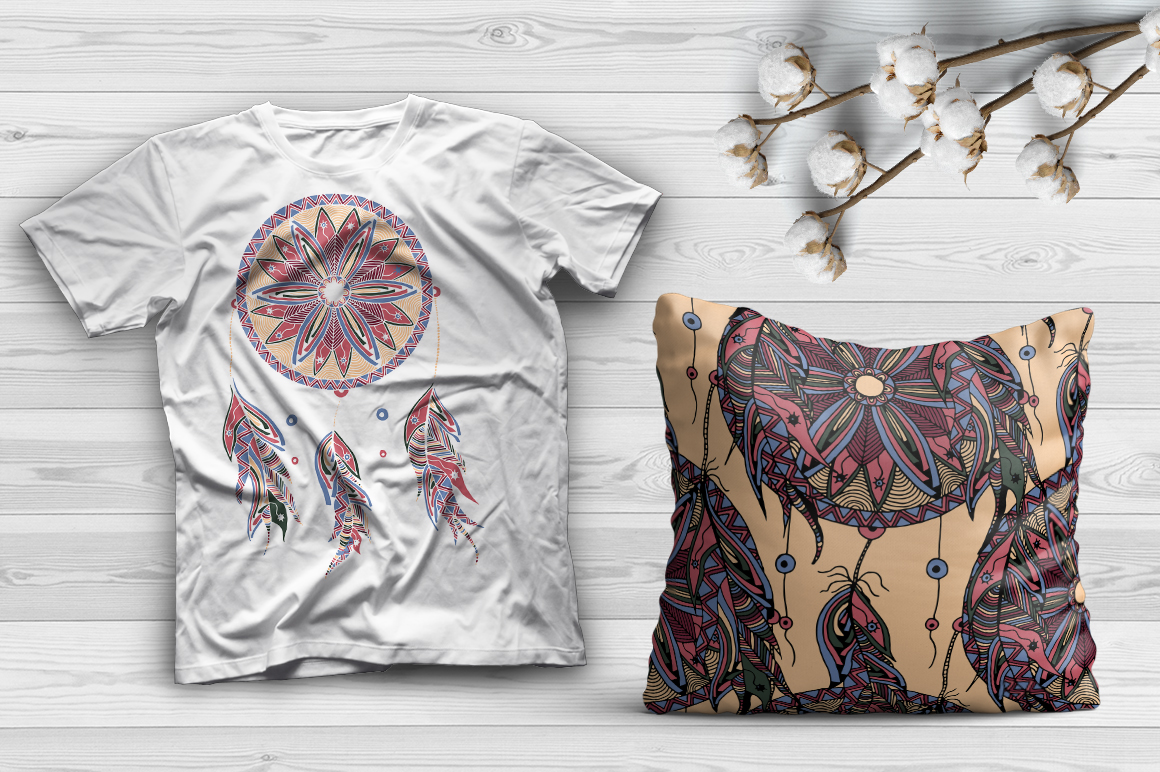 Download Free Hand Drawn Dreamcatcher Illustrations Seamless Patterns Graphic for Cricut Explore, Silhouette and other cutting machines.