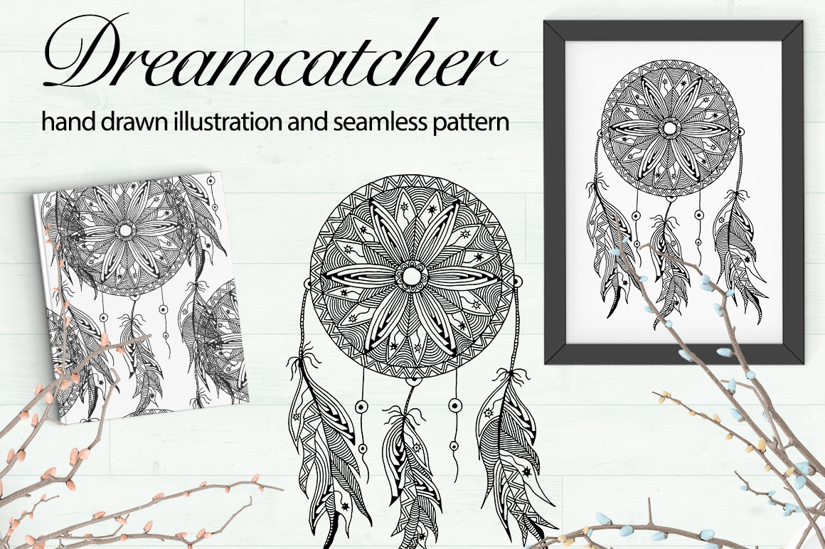 Print on Demand: Hand Drawn Dreamcatcher Illustrations & Seamless Patterns Graphic Illustrations By InkandBrush