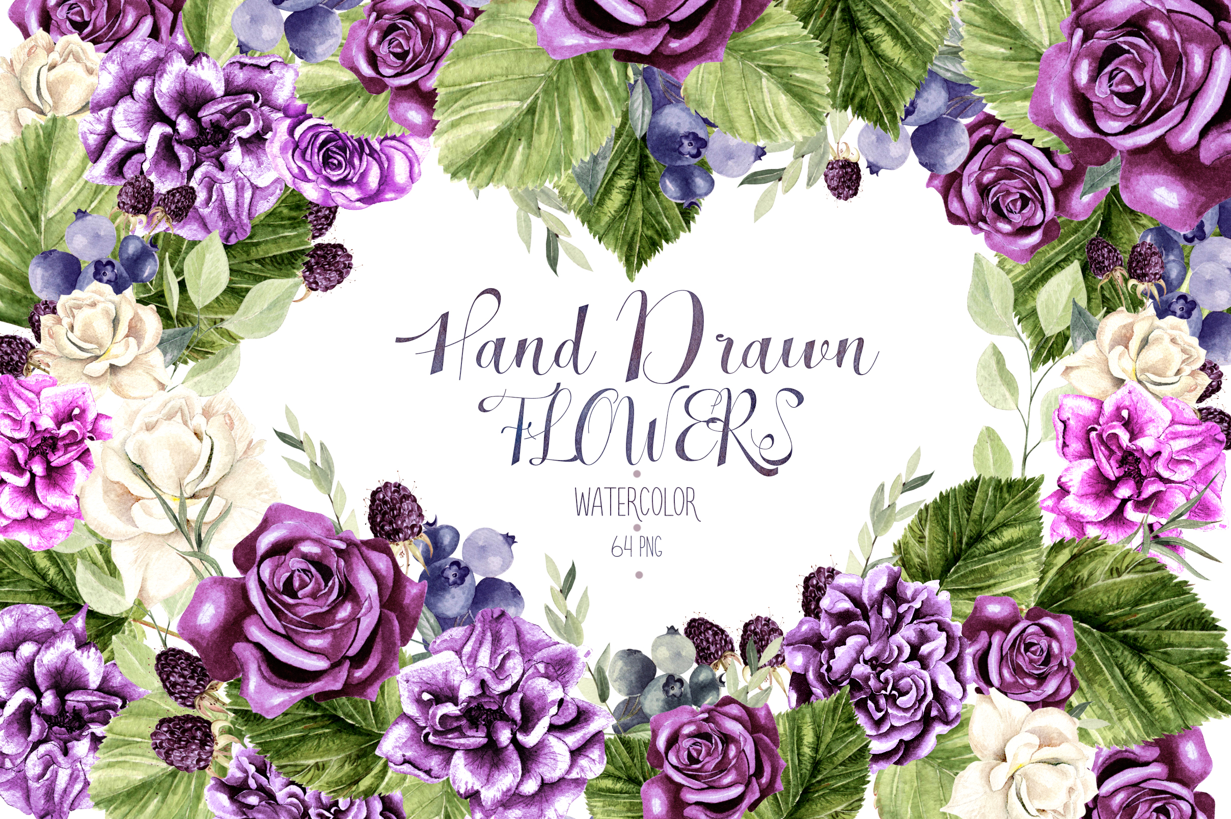 Hand Drawn Watercolor Flowers Gráfico Por Knopazyzy