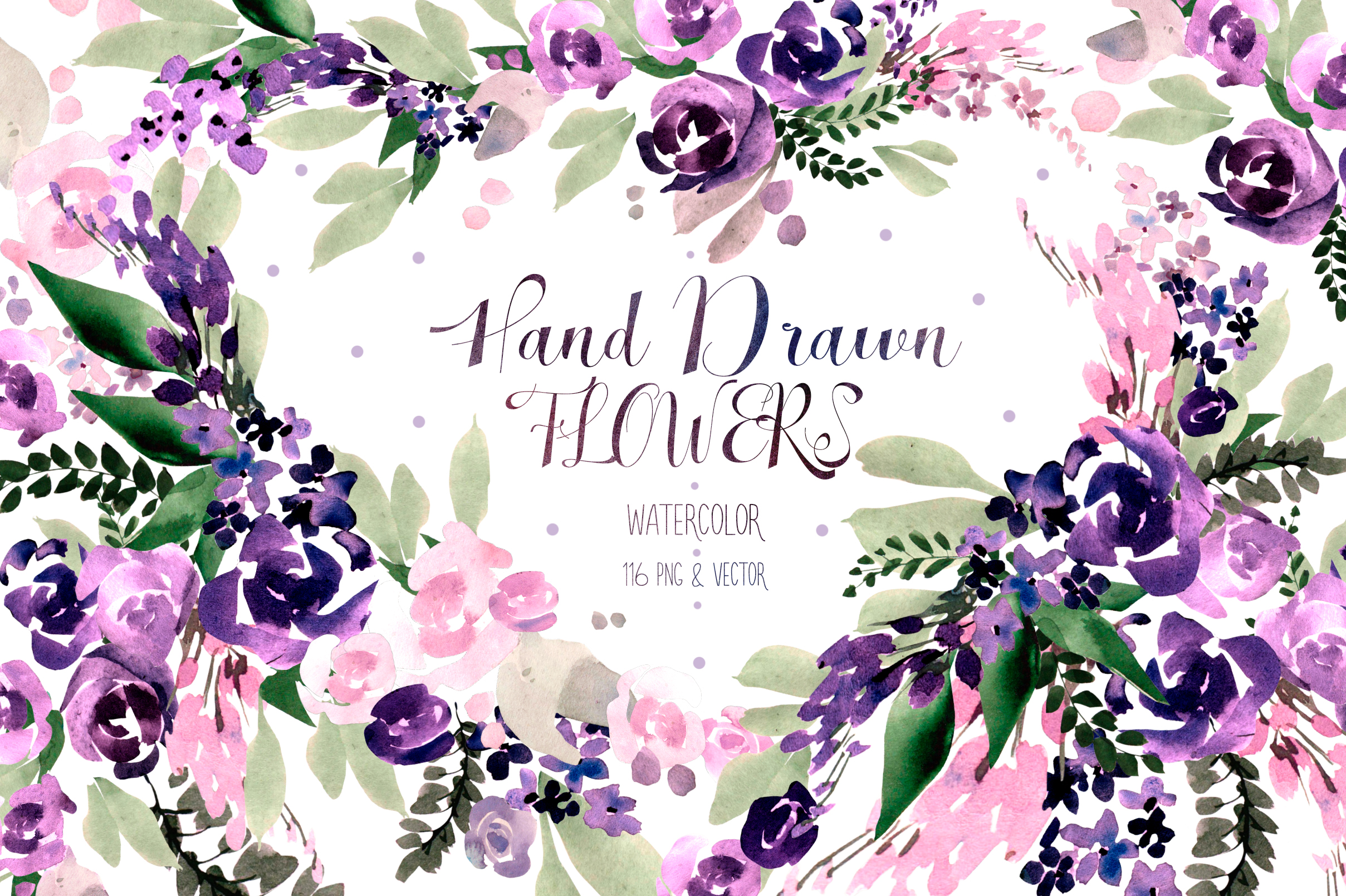 Hand Drawn Watercolor Flowers Graphic Illustrations By Knopazyzy