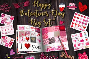 Download Free Happy Valentine S Day Big Set Graphic By Alisared87 Creative for Cricut Explore, Silhouette and other cutting machines.