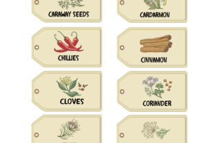 Herbs & Spices  Theme - 12 Up Coloured Vintage Style Labels Graphic By Angela H. Evans