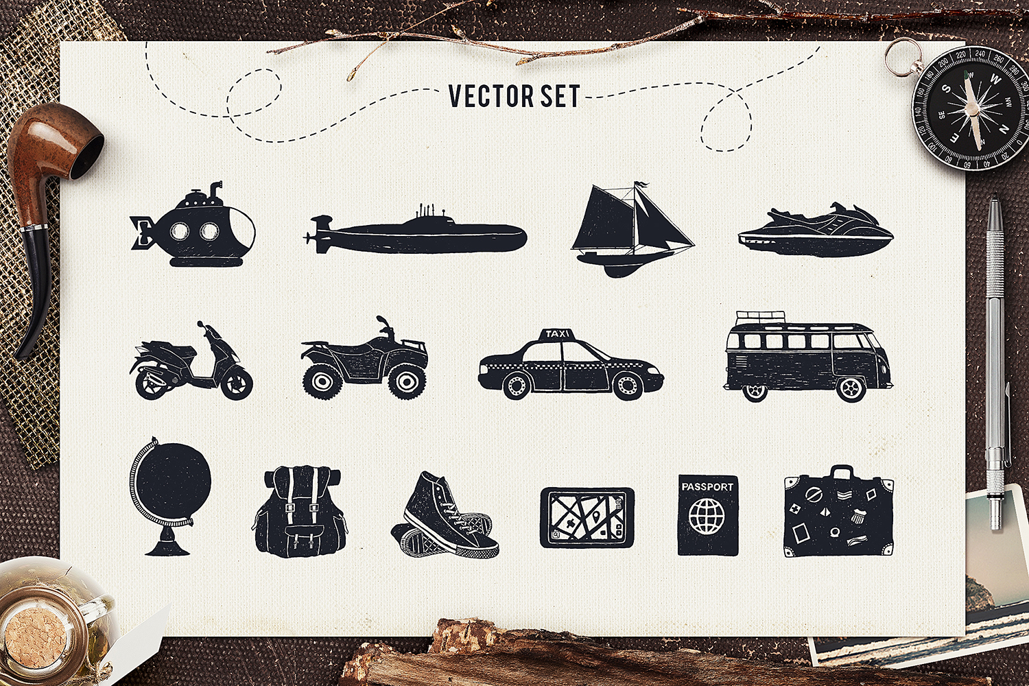Print on Demand: I Love Travelling Set Graphic Objects By Cosmic Store - Image 2
