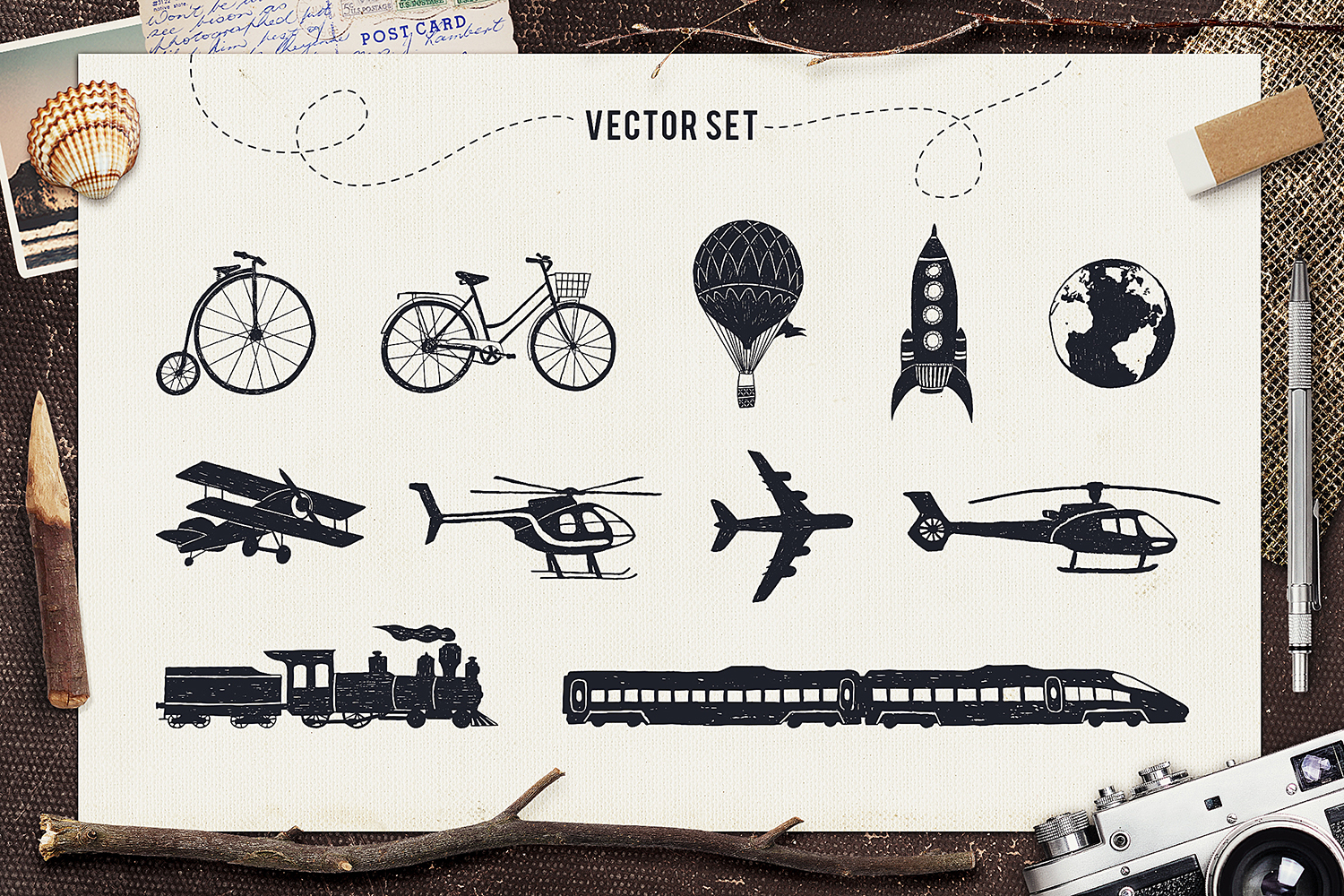 Print on Demand: I Love Travelling Set Graphic Objects By Cosmic Store - Image 3