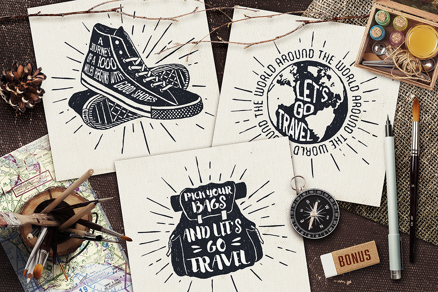Print on Demand: I Love Travelling Set Graphic Objects By Cosmic Store - Image 5