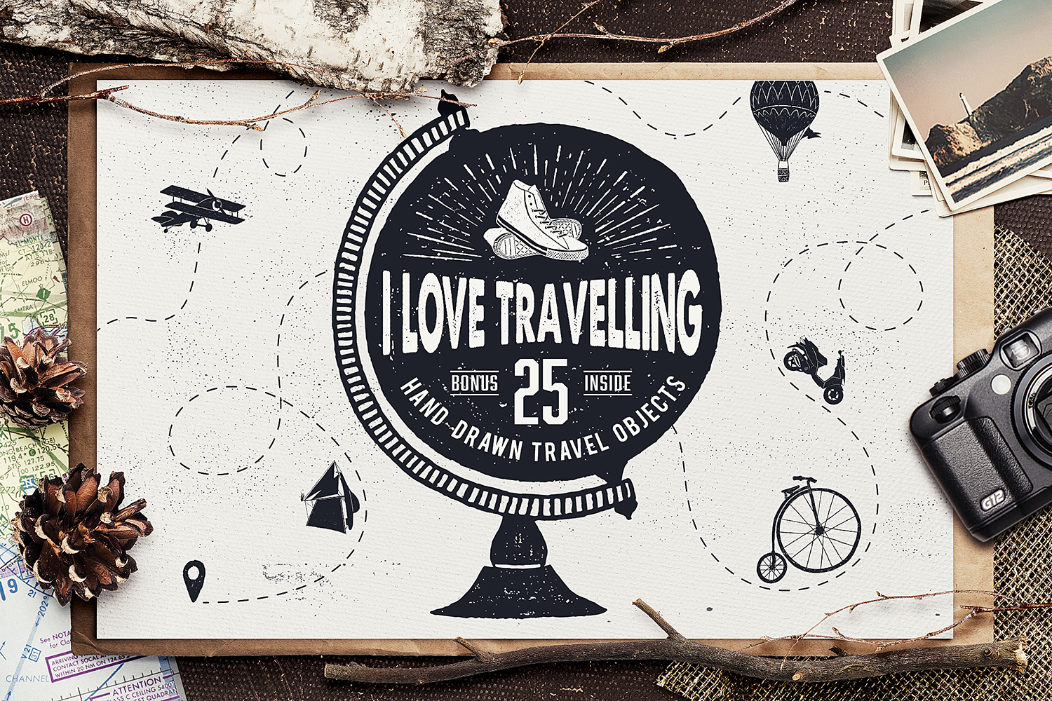 Print on Demand: I Love Travelling Set Graphic Objects By Cosmic Store