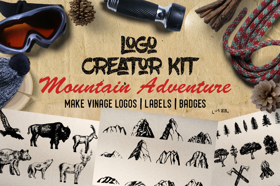 Print on Demand: Logo Creator Kit - Mountain Adventure Grafik Illustrationen von Gennadii ART