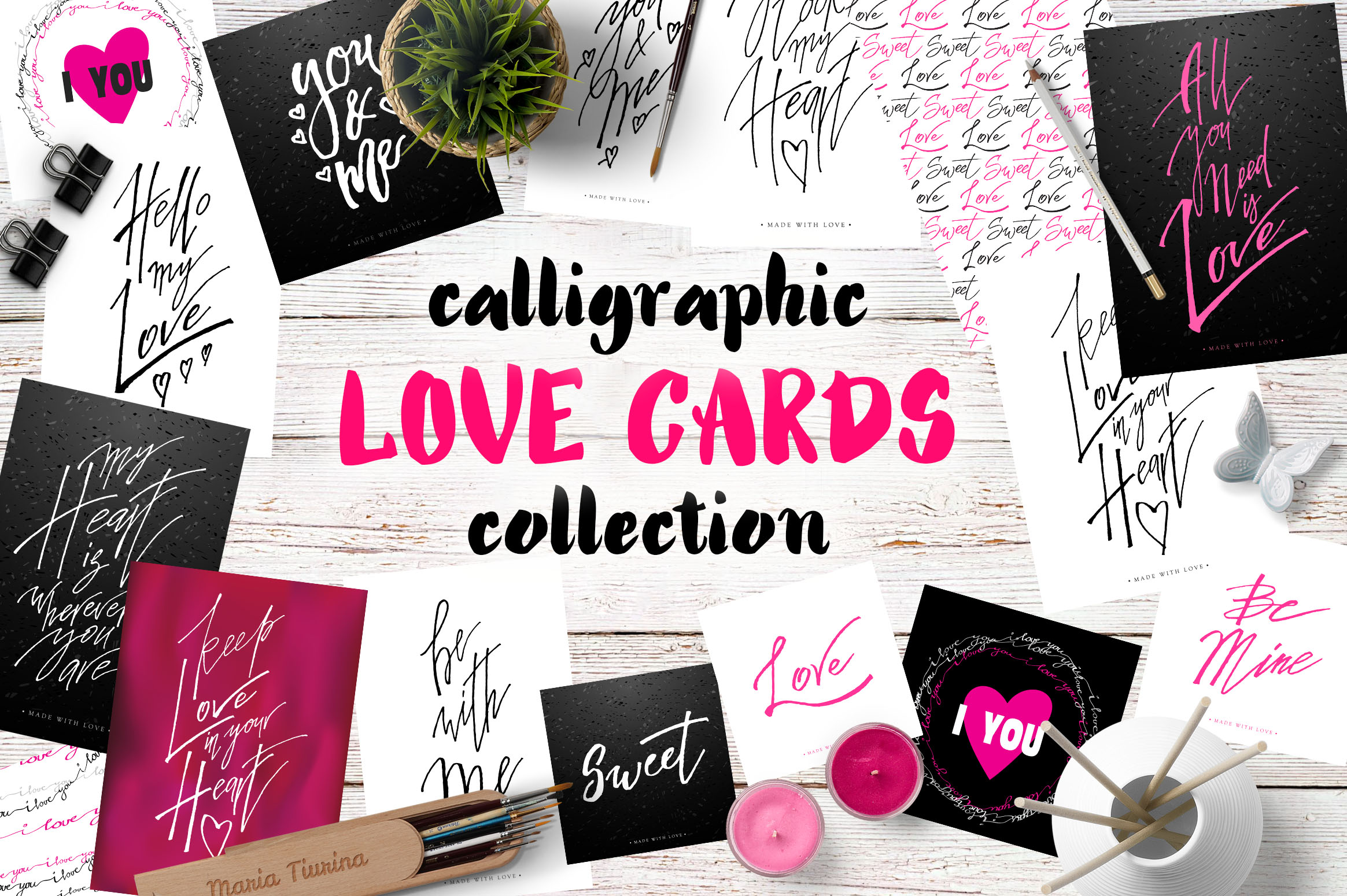 Love Cards Lettering Graphic Illustrations By Iradvilyuk