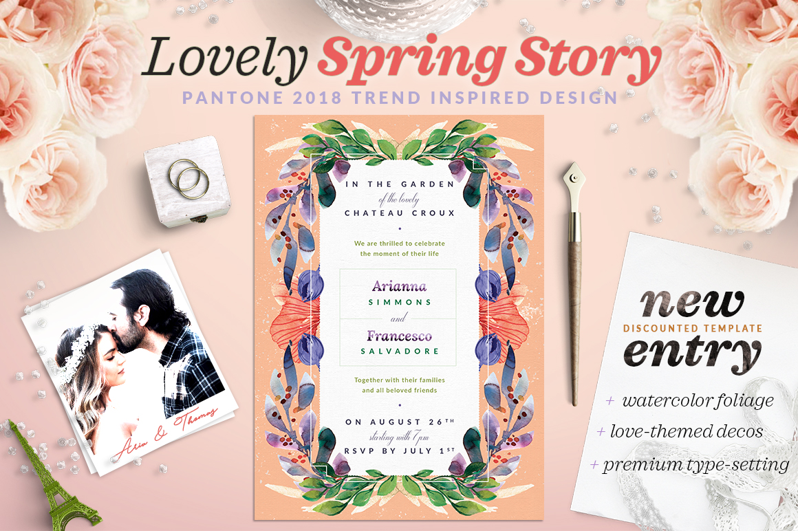 Print on Demand: Lovely Spring Story Invite I Graphic Print Templates By lavie1blonde - Image 1
