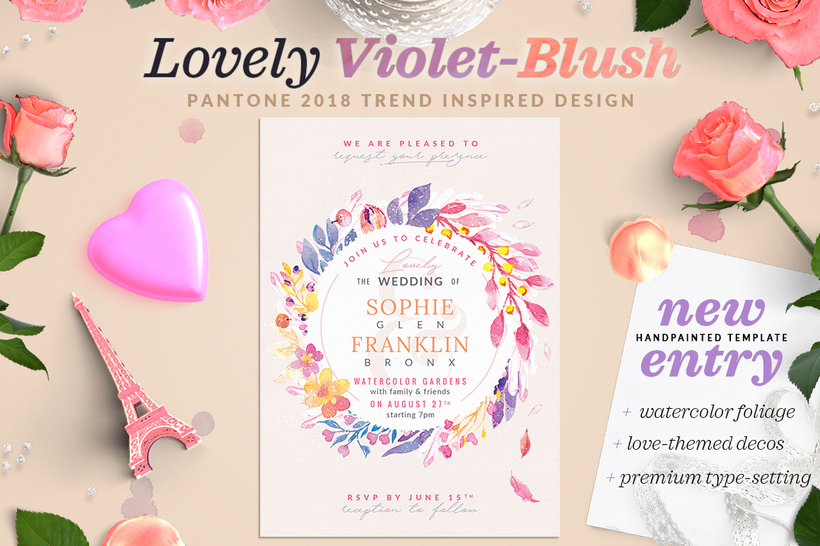 Lovely Violet-Blush Invite I Graphic Print Templates By lavie1blonde - Image 1