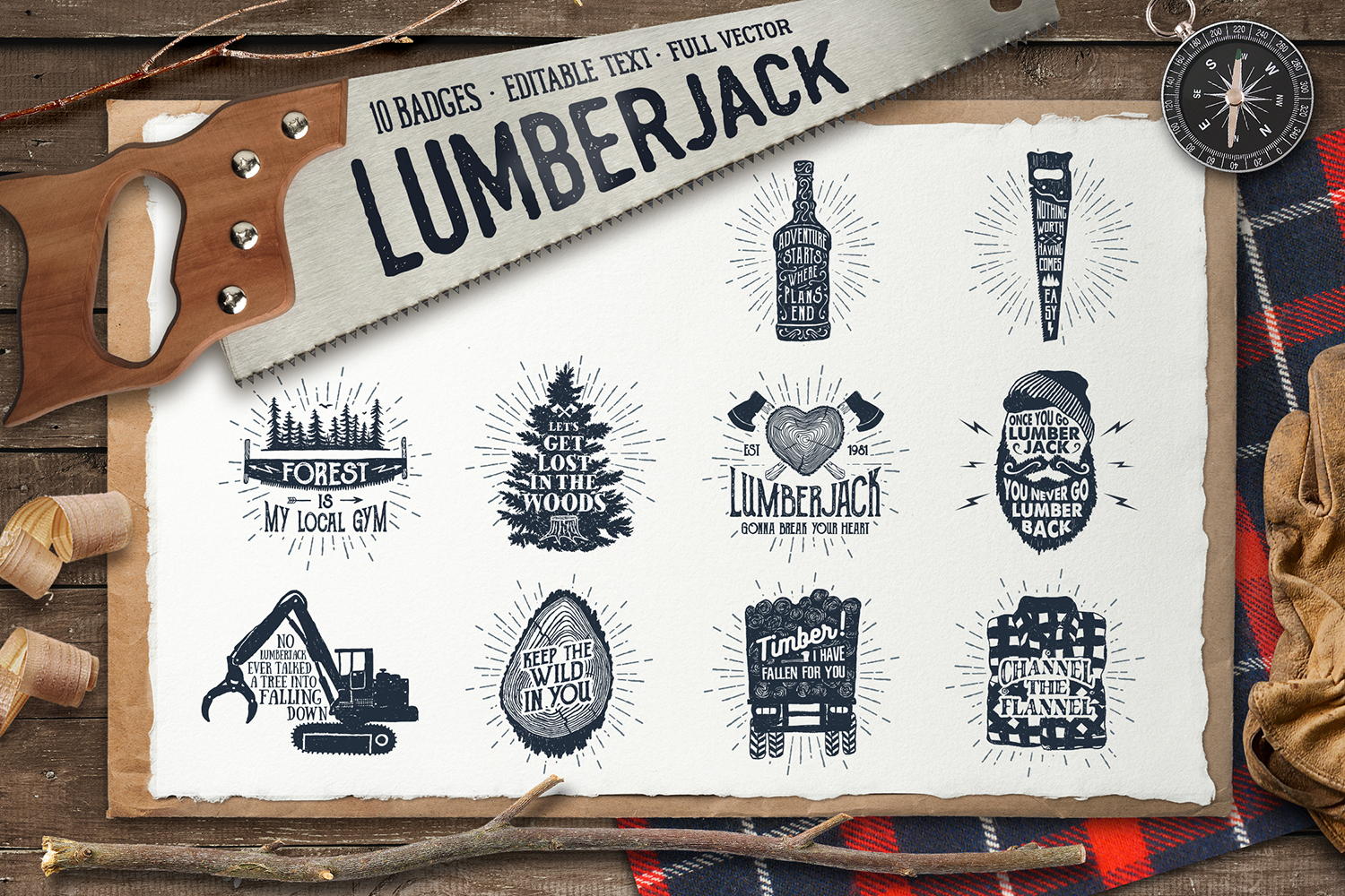 Lumberjack - Vintage Badges Graphic By Cosmic Store Image 1