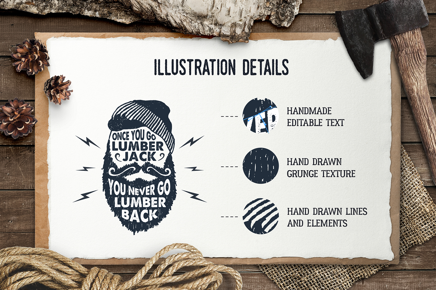 Lumberjack - Vintage Badges Graphic By Cosmic Store Image 2