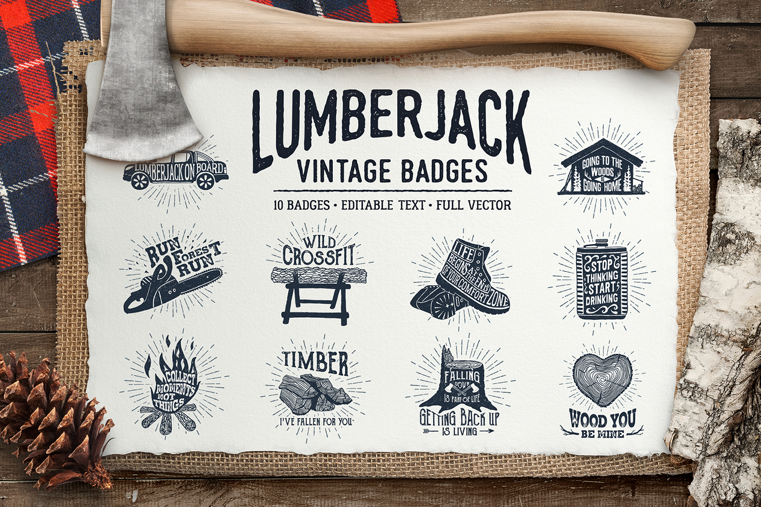 Print on Demand: Lumberjack - Vintage Badges Graphic Illustrations By Cosmic Store